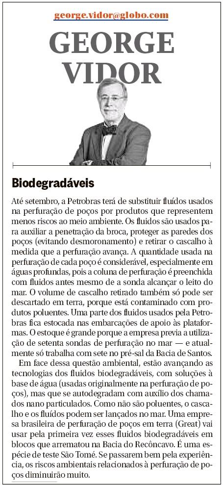 Artigo O Globo - George Vidor 27/06/2016